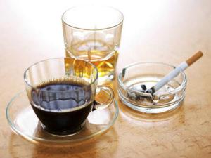 Злоупотребление алкоголем, кофе и курение
