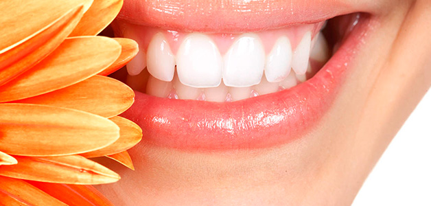 Белые зубы и цветок