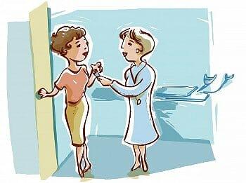 Рисунок врача и женщины