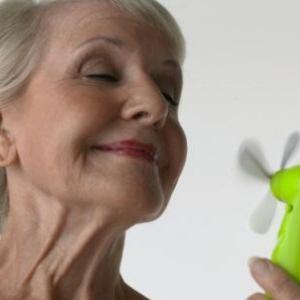 Пожилая с маленьким вентилятором