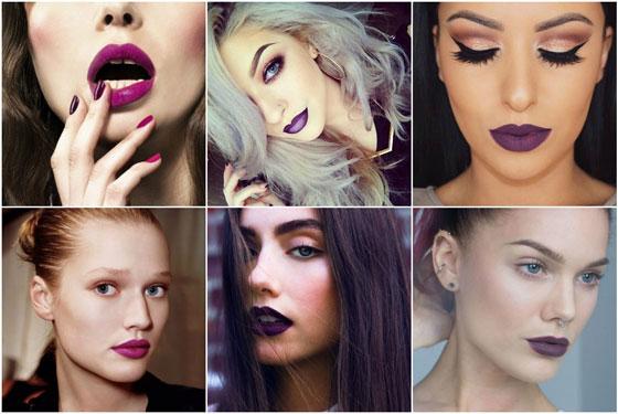 различные виды макияжа с фиолетовой помадой