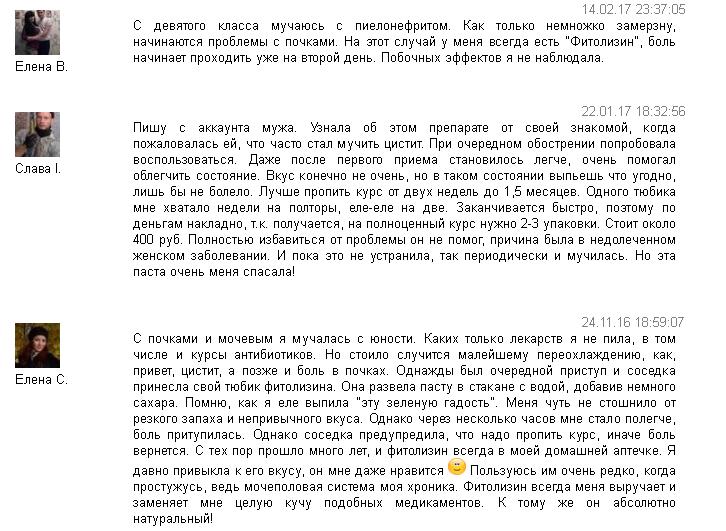 Отзывы о Фитолизине