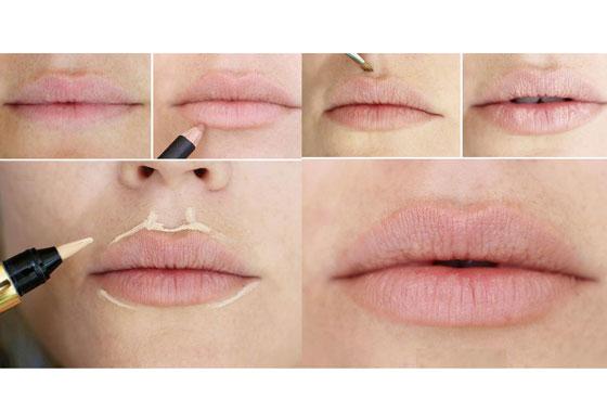 Увеличение губ макияжем
