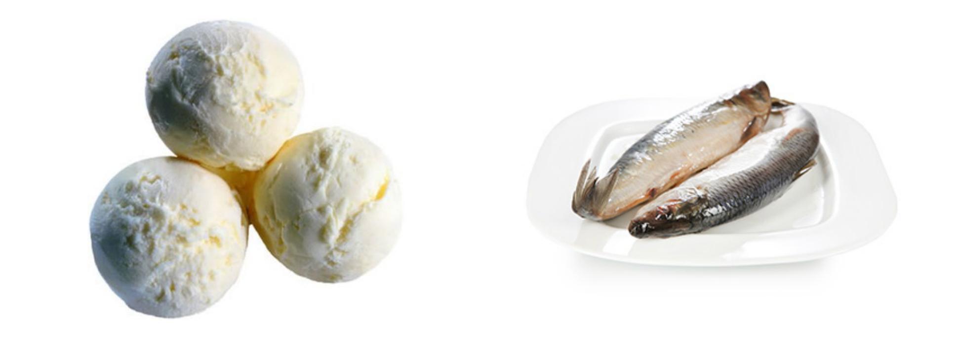 Сливочное мороженое, соленая рыба